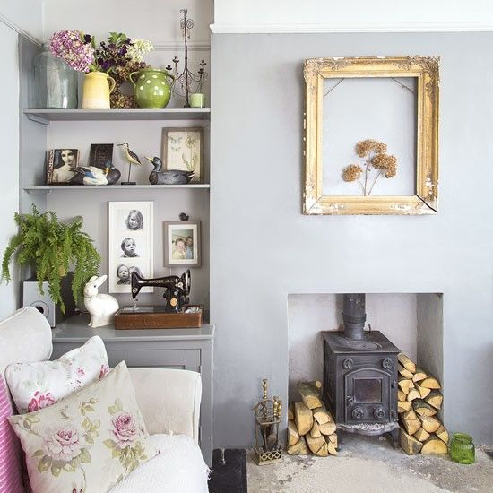 Pale Blue Living Room With Woodburner