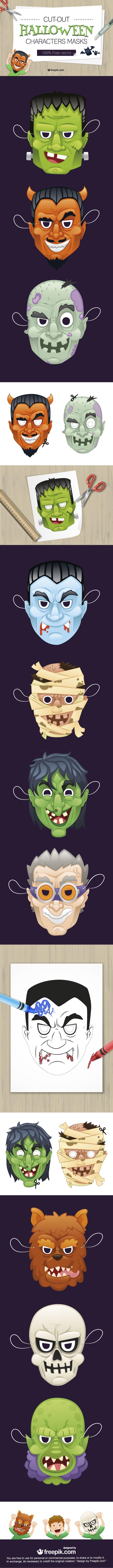 Free Halloween Characters Vector Masks