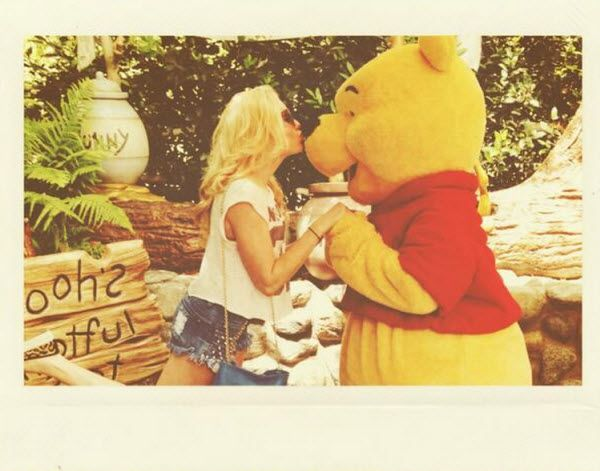 Photo: Peyton List Kissing Winnie The Pooh At Disneyland Resort April 2014