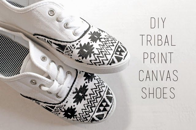 punk projects: DIY Tribal Print Canvas Shoes using So-Soft.