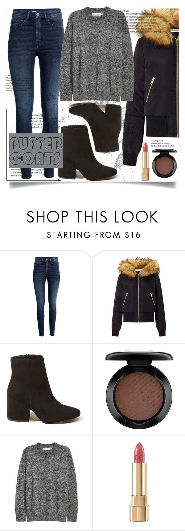 """""""Puffer Coats"""" by bitty-junkkitty ❤ liked on Polyvore featuring H&M, Miss Selfridge, Hollister Co., MAC Cosmetics and Dolce&Gabbana"""
