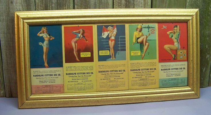 WWII Deco EARL MORAN Pin Up Girl Framed CalendarCards MARILYN MONROE NORMA JEAN