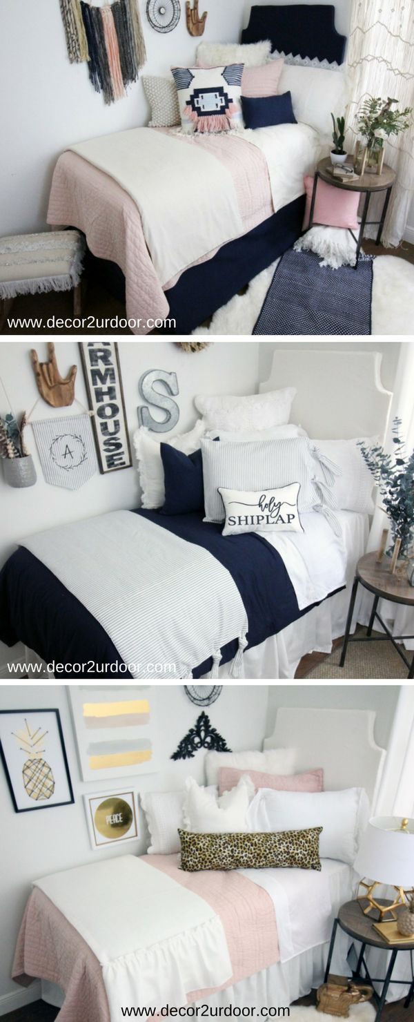 """Decorating a dorm room? Check out Decor 2 Ur Door for tons of college dorm room inspiration - from boho dorm room decor to preppy Lilly dorm rooms. Get the """"Fixer Upper"""" farmhouse dorm room look with Magnolia Homes pillows and rugs or take a walk on the wild side with this blush and cheetah print dorm room. There are hundreds of dorm room bedding sets to fit your unique personality and style. We adore these custom-made designer headboards for dorm rooms, extended-length dorm room bed s"""