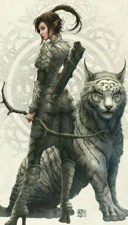 Warrior elf and combat companion... Fantasy art