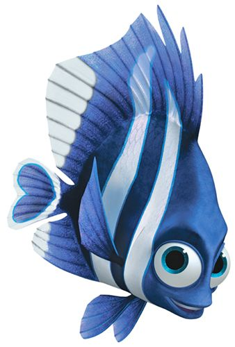 Finding Nemo - Deb (Vicky Lewis) is a blue and white striped damselfish who lives in the dentist's fish tank in Sydney, Australia. She seems delusional as she thinks her reflection is her sister named Flo, who may or may not exist. The dentist received Deb through a mail order.