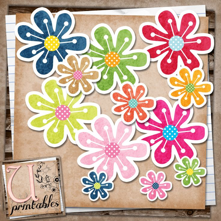 U printables by RebeccaB: FREE Print/Print and Cut - Flowers