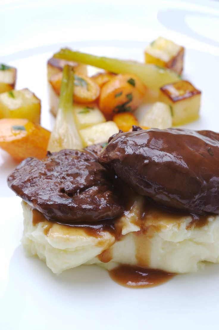 Elderflower Wine Braised Pork Cheeks with Root Vegetables