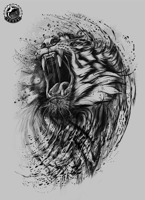 Roaring lion tattoo with music notes coming out of the mouth