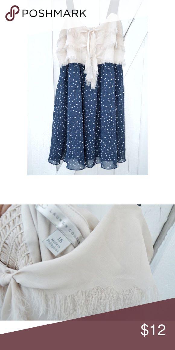 Polka Dots + Ruffles Dress A fun & festive dress with a cream ruffled top and navy polka dot bottom. LC Lauren Conrad Dresses