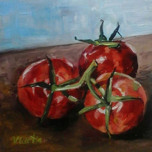Tomatoes  Oil Painting by Vicky Curtin by MyCoveArt on Etsy
