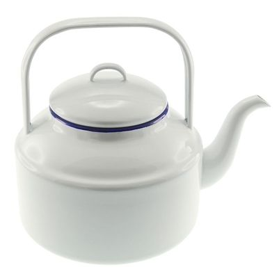 This lovely, classic Enamel Tea Kettle from Falcon Enamelware in iconic white with blue rim, has a 3 Litre capacity to make your camp tea. Mum's will love this vintage design. A perfect gift for Mother's Day!