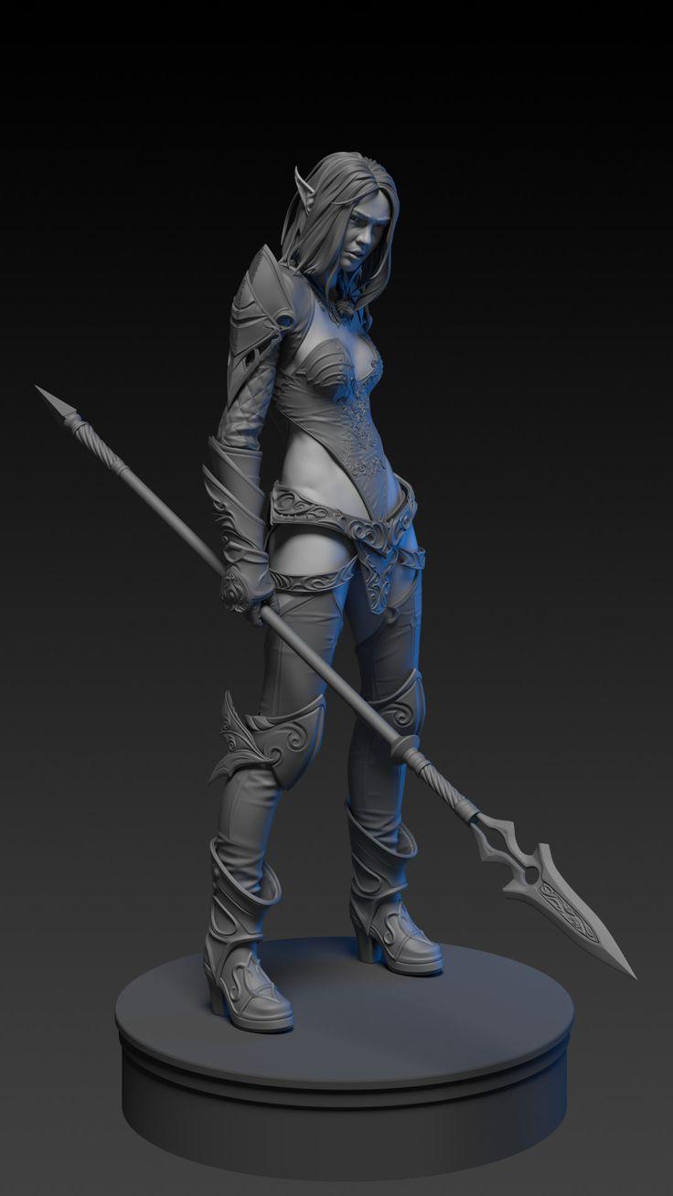 ArtStation - dark elf in blue wolf set (lineage 2), Alexey Zhuravlev