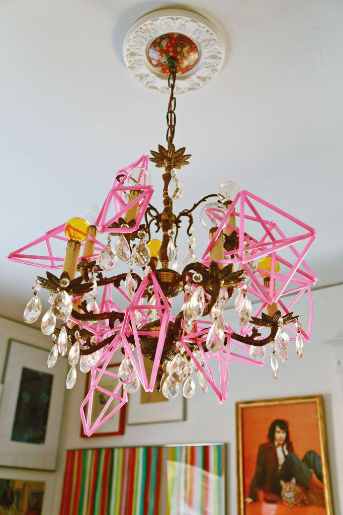 Pink-geometric-ornaments-chandelier