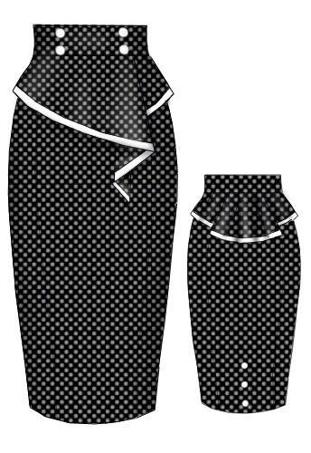 Rockabilly Polka dot Peplum Skirt