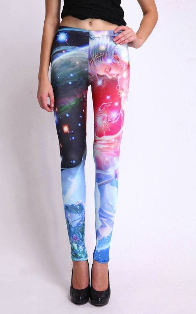 Angel in galaxy print leggings brings feminine touch. Spandex & polyester means tight figure hugging fit for a svelte look.