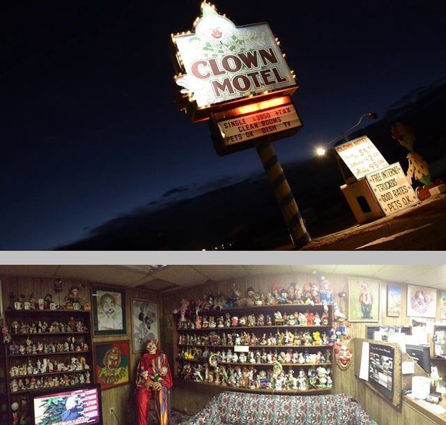 The Clown Motel in Tonopah, Nevada is a one-of-a-kind establishment - the proprietor is a collector of clown memorabilia, & each room is clown-themed. Once a goldmining boomtown, the population has dwindled & the next town is 70 miles further down Hwy 95. Located next to the historic Tonopah Miners Cemetery, the motel is said to be haunted.