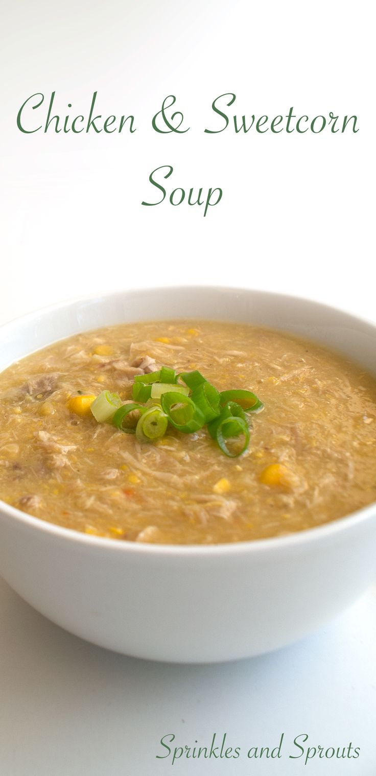 Chicken and Sweetcorn Soup. A delicious and easy soup recipe that is great on its own or at the start of a Chinese banquette. This from scratch recipe doesn't used canned creamed corn, so it is a healthier option on an old favourite. A great southern China dish.