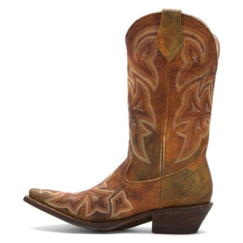 Western-Boots-for-Women-size-7-US-Rocky-Boots-RW022-Brown-Leather-New-in-Box