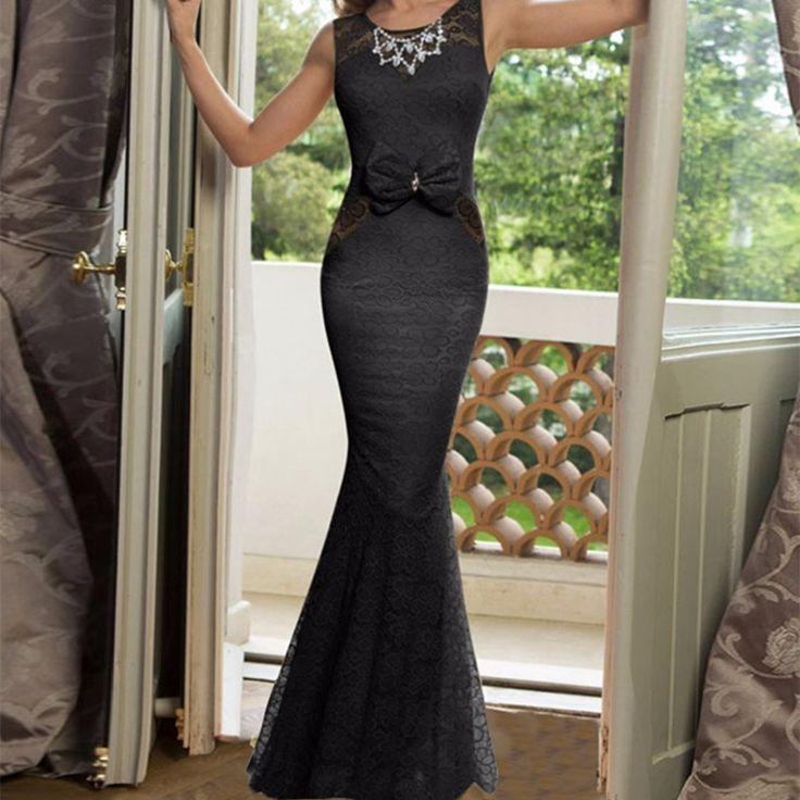 VI1026 Newly Brilliant  Mermaid Tight Dress Beautiful Floor Length Elegant Dress Blackless Vestidos Largos De Verano With Bow #Affiliate