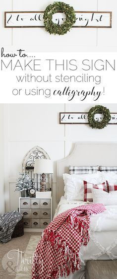 DIY wood Christmas sign -how to make this sign without stencils or calligraphy! Cute farmhouse christmas decor