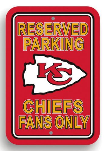 """NFL Kansas City Chiefs 12""""x18"""" Reserved Parking Sign Fans Only Football Man Cave"""