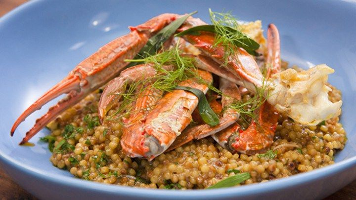 Blue Swimmer Crab and Pearl Couscous Stew
