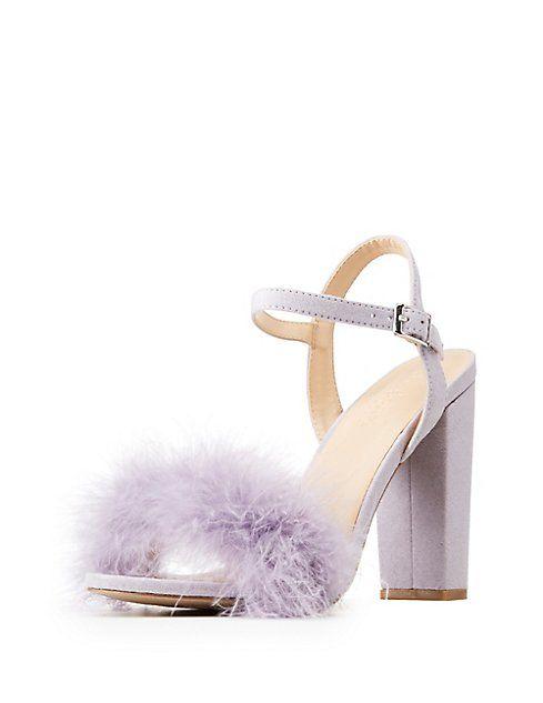f5e0f863f4b Wide Width Feather Trim Sandals   b l a c k t i e   Ankle wrap ...