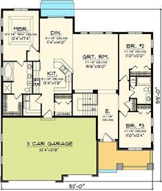 Craftsman Ranch Home Plan - 89846AH floor plan - Main Level