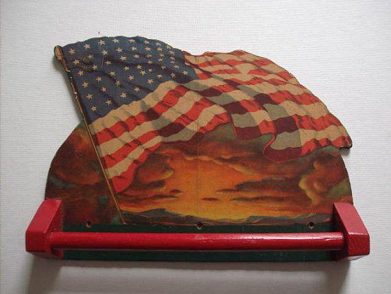 Vintage Folk Art ~ Homemade ~ 48 Star Flag Towel Rack ~ Paper Over Wood ~ Nice Patriotic Folk Art Piece! on Etsy, $9.95