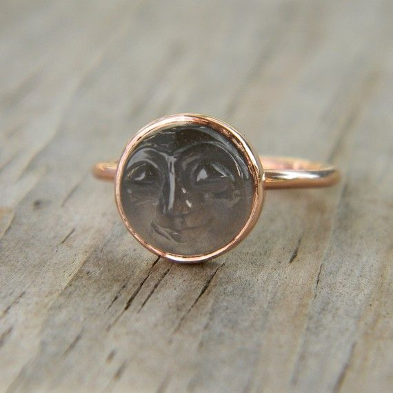 Man in the Moon 14k Rose Gold & Black moonstone ring. I've always loved the man in the moon!!! I feel like I'm the only one who can see his face sometimes.