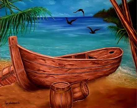 Boat, painting, coastal,scene,nautical,marine,piratic,tropical,blue,beautiful,images,contemporary,modern,wall,art,awesome,cool,artwork,for,sale,home,office,decor,oil,sea,shore,beach,old,wooden,palmtrees,island,sandy,summer,multicolor,colorful,items,ideas, fine art america