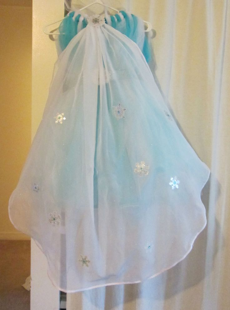 Back of Elsa inspired Tutu Dress with cape.  Will use more see through material on next cape