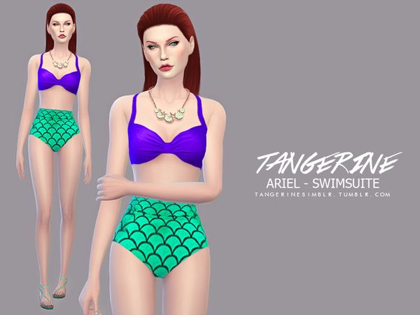 Ariel swimsuit by tangerinesimblr at TSR via Sims 4 Updates