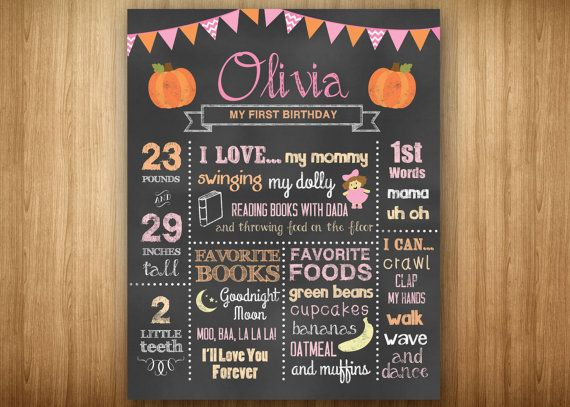 Girl Pumpkin Chalkboard 1st Birthday Sign by 3littlebirdsprints