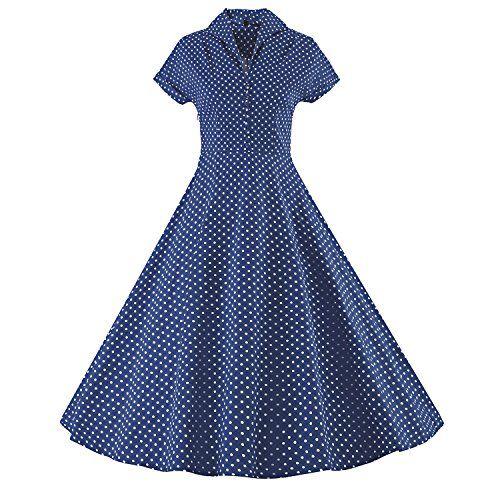 iLover Womens Classy Vintage 1940's Short Sleeves Rockabi...