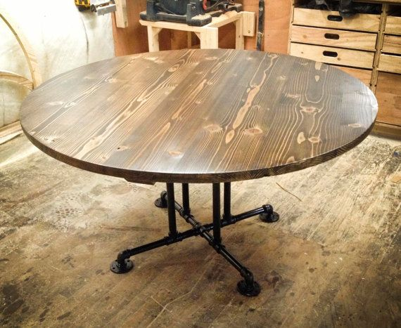 Circular Wooden Table with Industrial Base Round by EmmorWorks