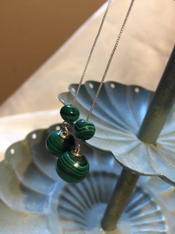 Green Malachite Earrings Silver Drop by DawningsCustomDesign