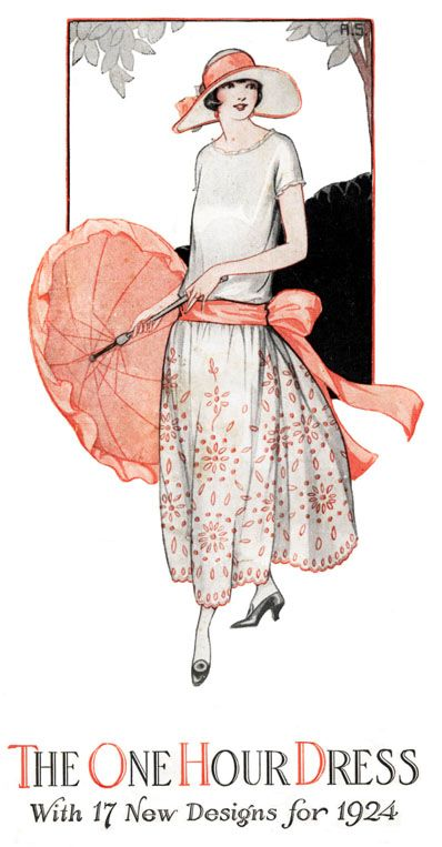 Learn how to create your own 1920's dress in only one hour. This pattern created a sensation when it was released by Mary Brookes Picken in 1924. Along with the One Hour Dress pattern I have added a pattern for a Two Hour Dress and 75 color illustrations of 1920s dresses for ideas and inspiration. It's perfect for making a 1920's flapper dress for costume events. The cost of this eBook is only $17. You can find it at http://www.onehourdress.com/