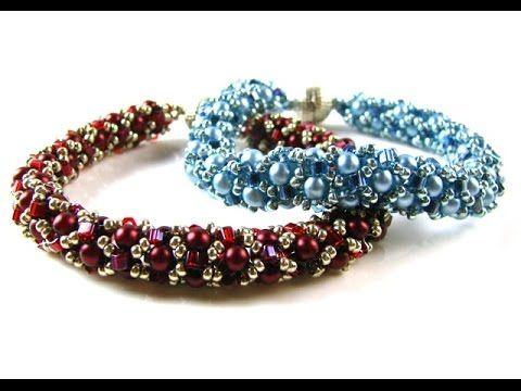 Tubular Netted Pearl Bracelet with Miyuki Hex Beads - YouTube