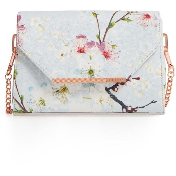 Ted Baker London Hadly Cherry Blossom Faux Leather Crossbody Bag (450 BRL) ❤ liked on Polyvore featuring bags, handbags, shoulder bags, vegan handbags, white crossbody handbags, ted baker crossbody, crossbody purses and white cross body purse
