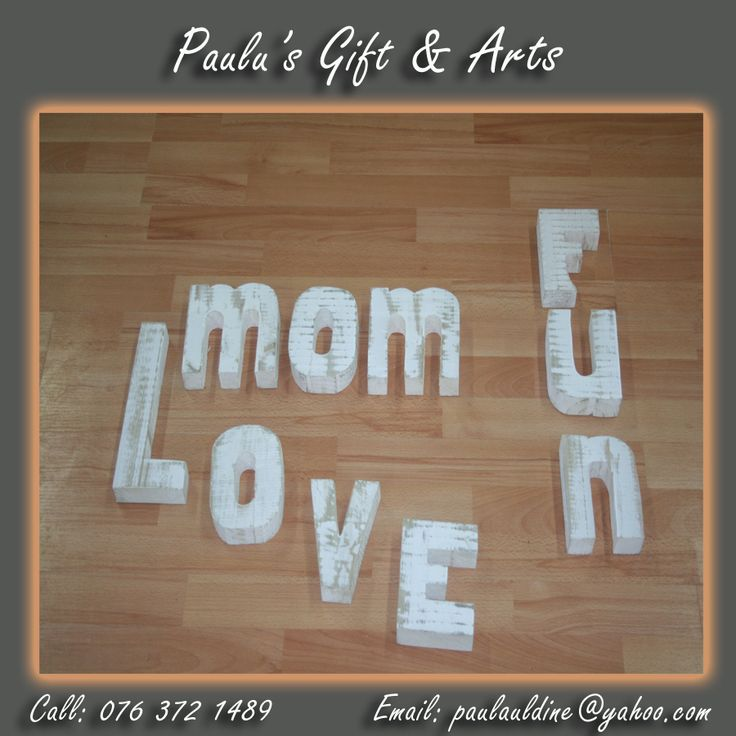 We have white wooden letters in store, so come and create your own words.Call us on: 076 372 1489 See more at: tinyurl.com/qg7f74n #Gifts #Arts #Crafts