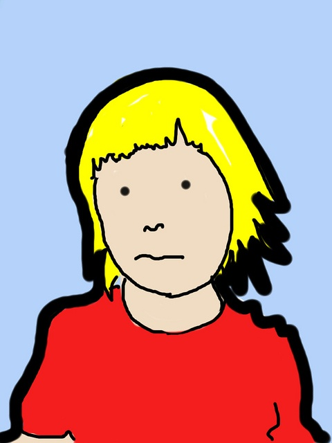 My son Edvin, in the style of Julian Opie