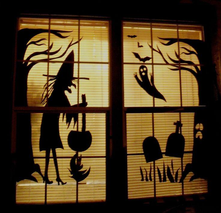 Halloween Windows from Poster Board: Halloween Window, Halloween Decor, Halloween Fun, Fun Decor, Posters Boards, Halloween Silhouette, Window Decor, Cheap Halloween, Halloween Ideas