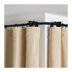 IKEA - RÄCKA, Eckverbindung für Gardinenstange, schwarz,  , , Flexibel und daher perfekt für Ecklösungen oder für Erkerfenster.Zum Verlängern von Gardinenstangen bis an die Wand, für wandfüllende Fensterdekoration - inkl. Beschlag.