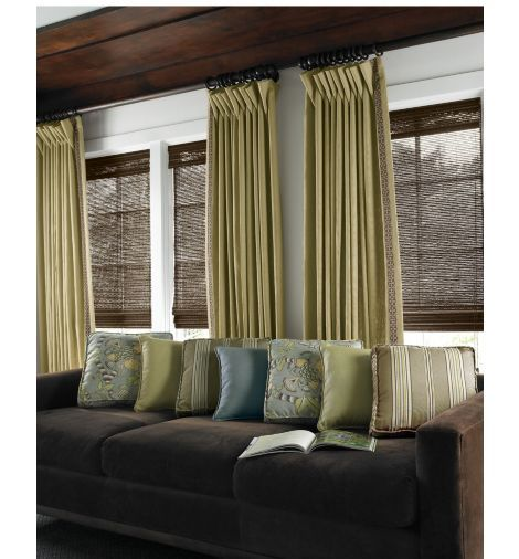 Brown bamboo blinds with dark wood trim and curtains to for Smith and noble bamboo shades