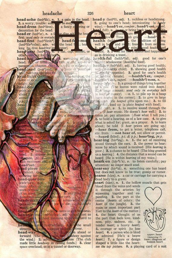 Druck: Herz Mischtechnik zeichnen auf Distressed, Wörterbuch-Seite