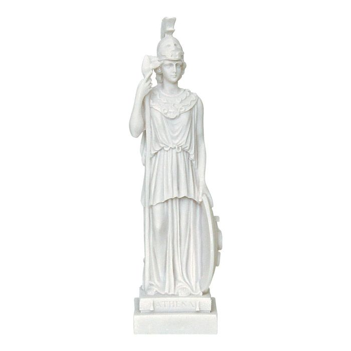 Goddess Athena. The beloved daughter of Zeus and the patroness of the city of Athens. In greek mythology, Athena was the goddess of wisdom and knowledge and her symbol was the owl.  Dimensions: 6,5 cm x 25 cm x 6 cm Statue, made of casted alabaster.