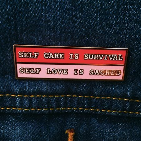 Self care is survival, and self love is sacred. This rose gold hard enamel pin celebrates that two key elements of choosing yourself: self love, and self care. Wear it as a badge of honor when you joi