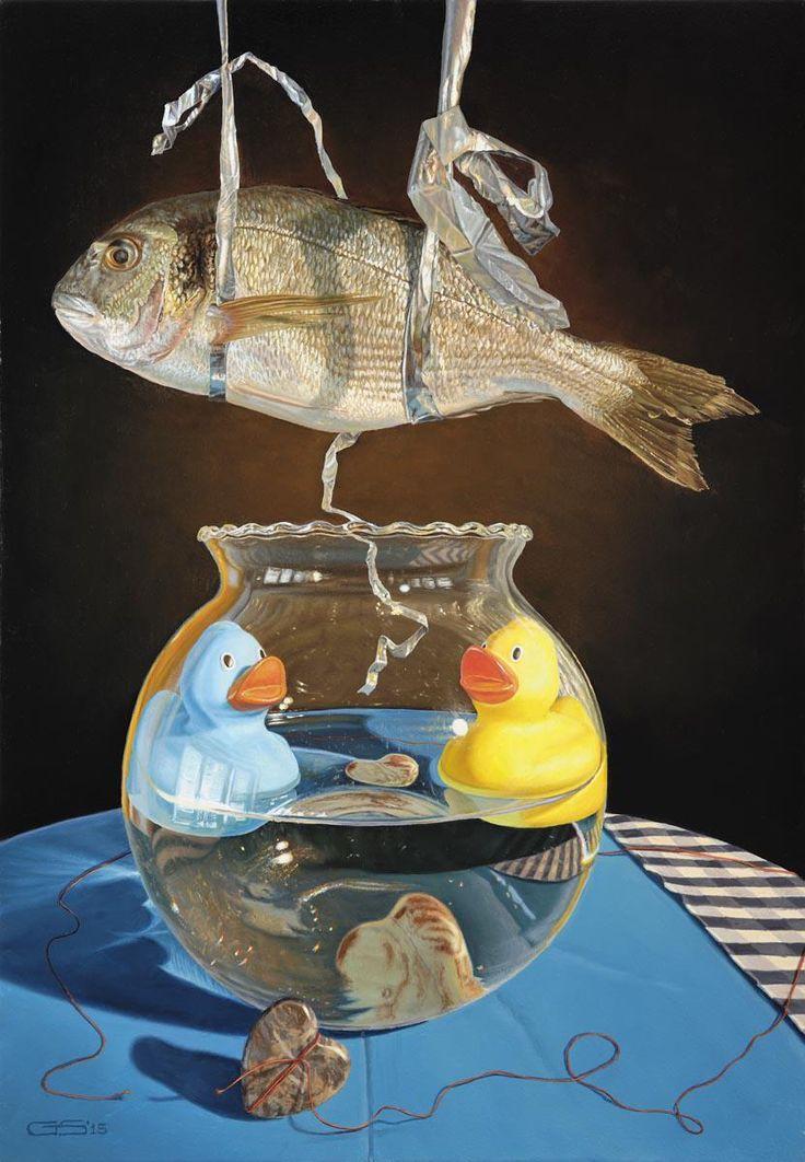 Out of the blue schilderij George Schriemer nu te zien in Gouda absurd realisme hedendaagse kunst stilleven