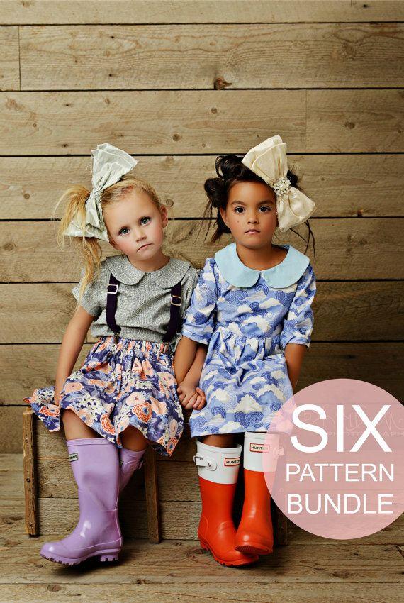 Meisjes gemakkelijk naaien patronen Beginner naai patronen meisjes jurk Peter Pan kraag Blouse meisjes rok hoge taille Twirl rok bloeiers bodietje